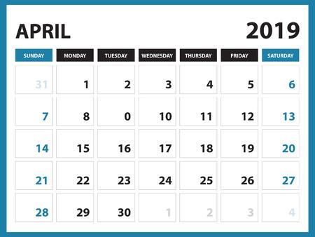 Desk calendar for APRIL 2019 template, Printable calendar, Planner design template,  Week starts on Sunday, Stationery design, vector illustration Vectores