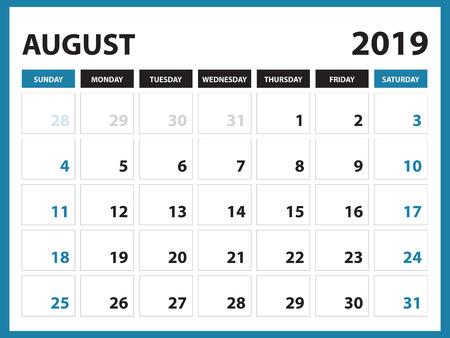Calendario da tavolo per il modello di agosto 2019, calendario stampabile, modello di progettazione Planner, settimana inizia domenica, disegno di cancelleria, illustrazione vettoriale Vettoriali