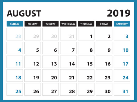 Desk calendar for AUGUST 2019 template, Printable calendar, Planner design template, Week starts on Sunday, Stationery design, vector illustration