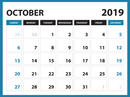 Desk calendar for SEPTEMBER 2019 template, Printable calendar, Planner design template,  Week starts on Sunday, Stationery design, vector illustration Vettoriali