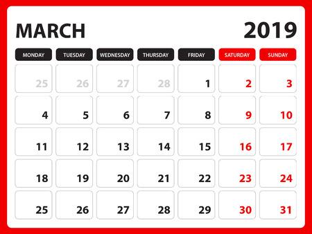 Desk calendar for MARCH 2019 template, Printable calendar, Planner design template, Week starts on Sunday, Stationery design, vector illustration