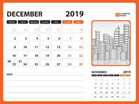 Desk calendar for DECEMBER 2019 template, Printable calendar, Planner design template, Week starts on Sunday, Stationery design, vector illustration