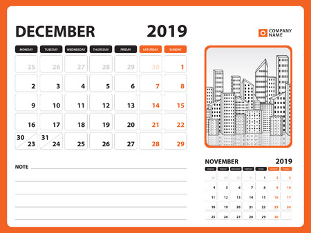 Desk calendar for DECEMBER 2019 template, Printable calendar, Planner design template, Week starts on Sunday, Stationery design, vector illustration
