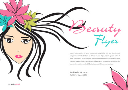Beauty Flyer template, Magazine Ads layout, Cosmetics Banner, poster, backdrop, billboard, leaflet, newspaper, women long hair style icon White flower, Girl face,  women, salon sign, beauty lady, spa, cartoon, vector illustration