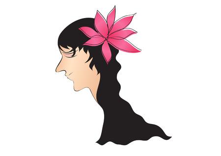 icône de style de cheveux longs femmes fleur rose blanche, visage de fille, logo femmes, signe de salon, beauté dame, spa, dessin animé, illustration vectorielle