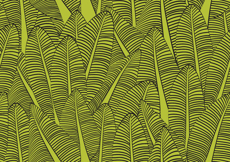 Banana leaf seamless pattern vector illustration for fabric, cloth, package, wall, decoration, furniture, printing media. Green background design. Banana leaf icon icon. nature texture. cover design