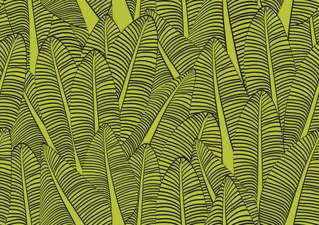 Illustration vectorielle de feuille de bananier modèle sans couture pour tissu, tissu, emballage, mur, décoration, meubles, supports d'impression. Conception de fond vert. Icône d'icône de feuille de bananier. texture de la nature. présentation de couverture