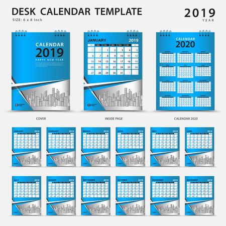 デスク カレンダー 2019 テンプレート。12ヶ月のセット。プランナー。週は日曜日に始まります。文房具のデザイン。広告。ベクター レイアウト。青いカバー。ビジネスパンフレットのチラシ。