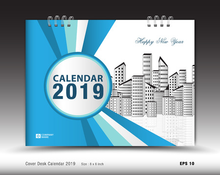 Cover Desk Calendar for 2019 year template vector, book cover layout, annual report, magazine ads, Business brochure flyer, poster, leaflet, booklet, newspaper, blue abstract backround