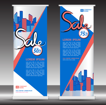 Roll up banner template, stand design, Pull up, display, advertisement, business flyer, poster, presentation, corporate, web banner layout, blue modern creative concept, city vector illustration