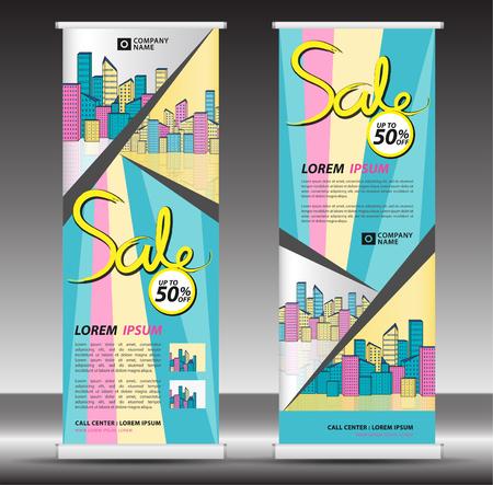 Modello di banner roll up, design stand, pull up, display, pubblicità, volantino aziendale, poster, presentazione, layout aziendale, banner web, concetto creativo moderno pastello, illustrazione vettoriale della città