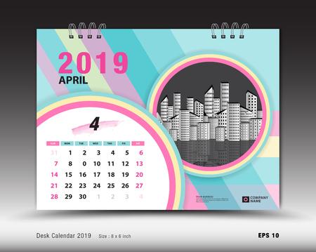 Desk calendar for APRIL 2019 template, Printable calendar, Planner design template, Week starts on Sunday, Stationery design, vector illustration 矢量图像