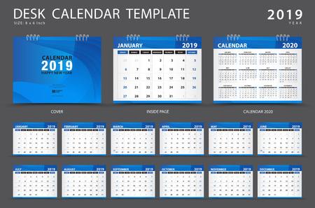 Kalendarz 2019, szablon kalendarza biurkowego, zestaw 12 miesięcy, terminarz, tydzień rozpoczyna się w niedzielę, projektowanie papeterii, reklama, układ wektorowy, projekt niebieskiej okładki, ulotka broszury biznesowej