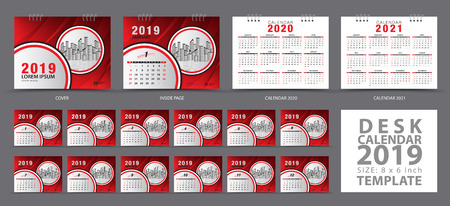 Set Desk calendar 2019 template, Set of 12 Months, Calendar 2019, 2020, 2021 artwork, Planner, Week starts on Sunday, Stationery design, advertisement, Vector layout, Red cover design, business brochure flyer