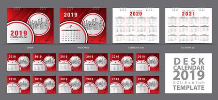 Set Desk calendar 2019 template, Set of 12 Months, Calendar 2019, 2020, 2021 artwork, Planner, Week starts on Sunday, Stationery design, advertisement, Vector layout, Red cover design, business brochure flyer