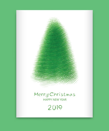 Merry Christmas Card 2019, Happy new year, banner, Christmas tree, holiday decoration card design, brochure, flyer template, advertisement, book cover, abstract background, eps10 vector, illustration