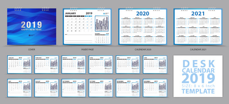 Desk calendar 2019 template, Set of 12 Months, Calendar 2019, 2020, 2021 artwork, Planner, Week starts on Sunday, Stationery design, advertisement, Vector layout, blue cover design, business brochure flyer