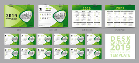 Desk calendar 2019 template, Set of 12 Months, Calendar 2019, 2020, 2021 artwork, Planner, Week starts on Sunday, Stationery design, advertisement, Vector layout, green cover design, business brochure flyer