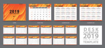 Desk calendar 2019 template, Set of 12 Months, Calendar 2019, 2020, 2021 artwork, Planner, Week starts on Sunday, Stationery design, advertisement, Vector layout, orange cover design, business brochure flyer Stok Fotoğraf - 127226859