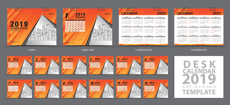 Desk calendar 2019 template, Set of 12 Months, Calendar 2019, 2020, 2021 artwork, Planner, Week starts on Sunday, Stationery design, advertisement, Vector layout, orange cover design, business brochure flyer
