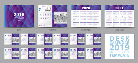 Desk calendar 2019 template, Set of 12 Months, Calendar 2019, 2020, 2021 artwork, Planner, Week starts on Sunday, Stationery design, advertisement, Vector layout, purple cover design, business brochure flyer Çizim