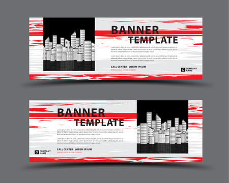 Banner template with city vector, web banner, billboard design, header page, Label, Business flyer vertical layout, advertisement, business artwork, abstract background Çizim