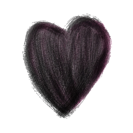 Black Heart Painted watercolor vector illustration, hand drawn heart isolated, Sketch