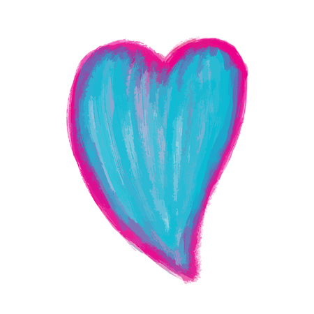 blue Heart Painted watercolor vector illustration, hand drawn heart isolated, Sketch for for valentines day or wedding