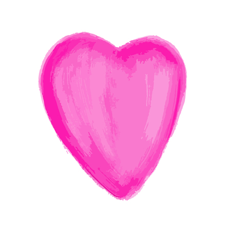 Pink Heart Painted watercolor vector illustration, hand drawn heart isolated, Sketch for for valentines day or wedding card