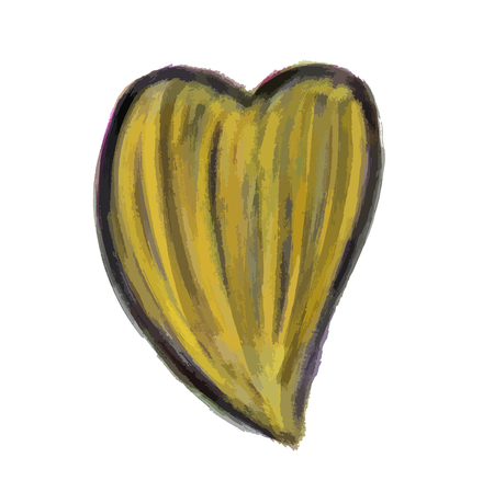 Yellow Heart Painted watercolor vector illustration, hand drawn heart isolated, Sketch for for valentines day or wedding card