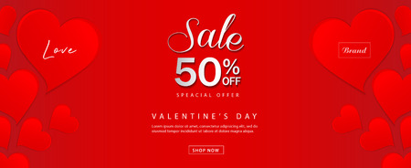 Valentines day sale banner vector template, Valentines Heart sale tags, web banner design, Discount card,  promotion, flyer layout, ad, advertisement, printing media