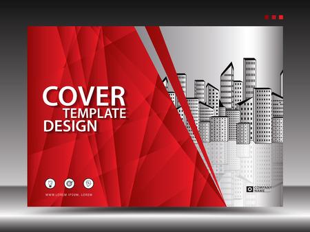Modello di copertina rossa per pubblicità, industria, immobiliare, casa, cartellone pubblicitario, presentazione, brochure flyer, copertina del rapporto annuale, libro, pubblicità, layout di stampa, sfondo poligonale, vettoriale, a4
