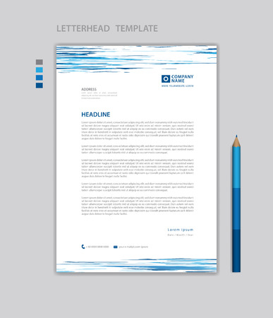 Letterhead template vector, minimalist style, printing design, business advertisement layout, Blue concept background