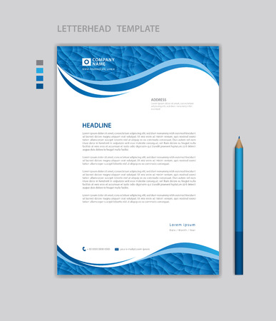 Letterhead template vector, minimalist style, printing design, business advertisement layout, Blue concept background Standard-Bild - 124593071