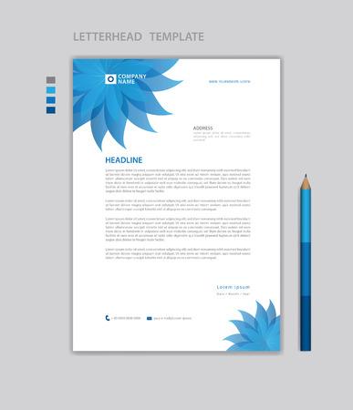 Letterhead template vector, minimalist style, printing design, business advertisement layout, Blue concept background Standard-Bild - 124593072
