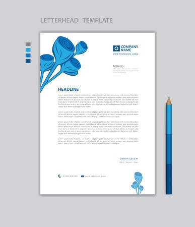 Letterhead template vector, minimalist style, printing design, business advertisement layout, Blue concept background Standard-Bild - 124593073