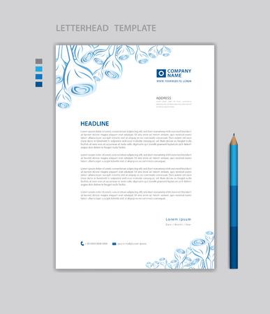 Letterhead template vector, minimalist style, printing design, business advertisement layout, Blue concept background Standard-Bild - 124593074