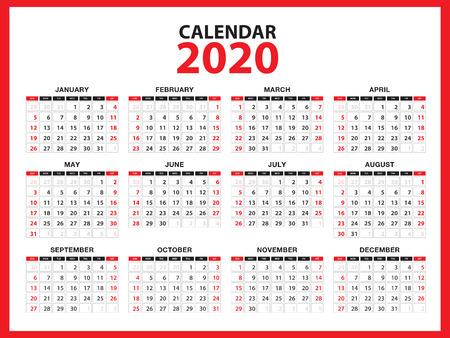 Layout del modello di calendario 2020, concetto rosso, volantino opuscolo aziendale, supporti di stampa, pubblicità, modello di design semplice, illustrazione vettoriale creativa