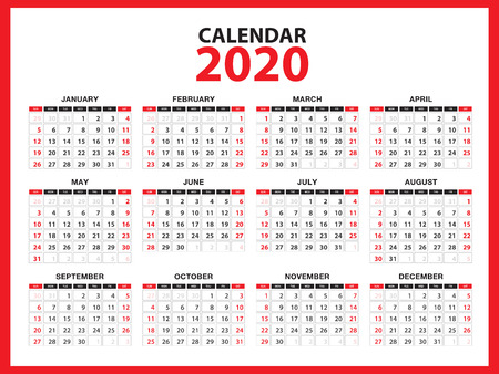 Układ szablonu kalendarza 2020, czerwony koncepcja, ulotka broszury biznesowej, media drukowane, reklama, prosty szablon projektu, kreatywna ilustracja wektorowa