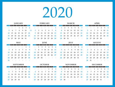Calendar 2020 template layout, blue Concept, business brochure flyer, print media, advertisement, Simple design template, creative vector illustration
