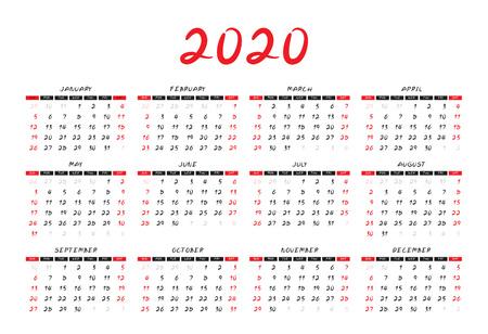 Mise en page du modèle de calendrier 2020, concept rouge, dépliant de brochure d'entreprise, presse écrite, publicité, modèle de conception simple, illustration vectorielle créative Vecteurs
