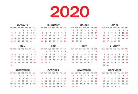 Calendar 2020 template layout, red Concept, business brochure flyer, print media, advertisement, Simple design template, creative vector illustration Standard-Bild - 124282546