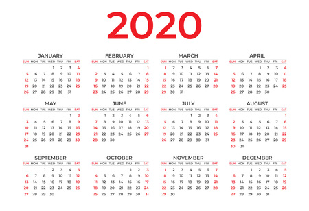 Calendar 2020 template layout, Red Concept, business brochure flyer, print media, advertisement, Simple design template, creative vector illustration Standard-Bild - 124282547