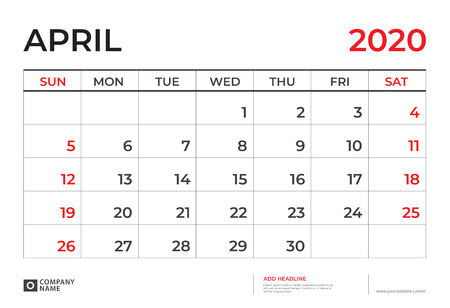 April 2020 Calendar template, Desk calendar layout  Size 9.5 x 6.5 inch, planner design, week starts on sunday, stationery design, vector Eps10