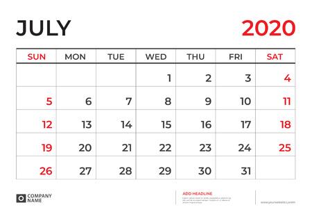 July 2020 Calendar template, Desk calendar layout  Size 9.5 x 6.5 inch, planner design, week starts on sunday, stationery design, vector Eps10 Ilustração