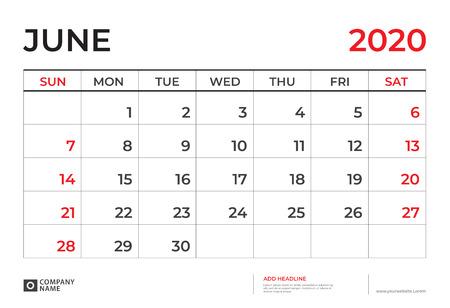 June 2020 Calendar template, Desk calendar layout  Size 9.5 x 6.5 inch, planner design, week starts on sunday, stationery design, vector Eps10