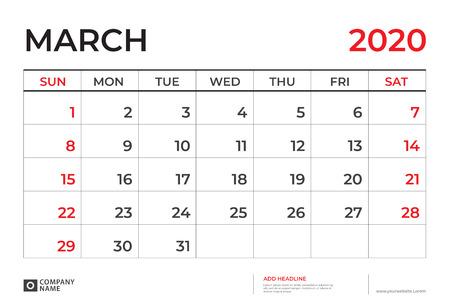 March 2020 Calendar template, Desk calendar layout  Size 9.5 x 6.5 inch, planner design, week starts on sunday, stationery design, vector Eps10