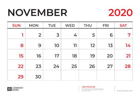 NOVEMBER 2020 Calendar template, Desk calendar layout  Size 9.5 x 6.5 inch, planner design, week starts on sunday, stationery design, vector Eps10