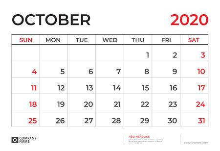 OCTOBER 2020 Calendar template, Desk calendar layout Size 9.5 x 6.5 inch, planner design, week starts on sunday, stationery design, vector Eps10