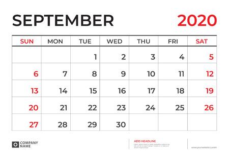SEPTEMBER 2020 Calendar template, Desk calendar layout  Size 9.5 x 6.5 inch, planner design, week starts on sunday, stationery design, vector Eps10